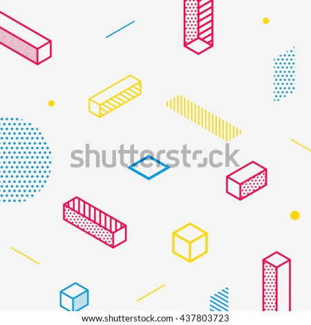 Future geometric pattern. Simple isometric shapes composition. Hipster colors. Original trendy design. Eps10 vector template. - stock vector