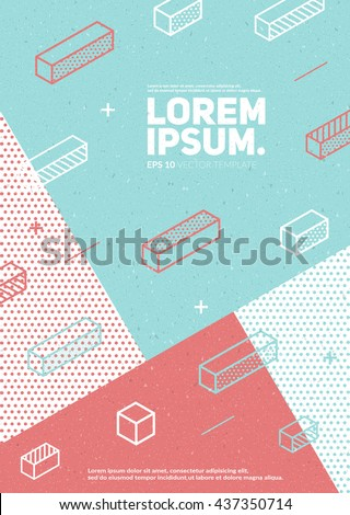 Future geometric poster with vintage texture. Simple isometric shapes composition. Hipster colors. Eps10 vector template. - stock vector