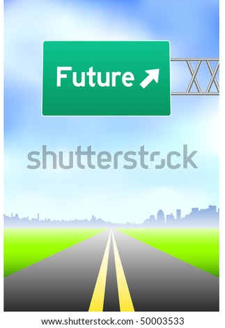 Future Highway Sign Original Vector Illustration