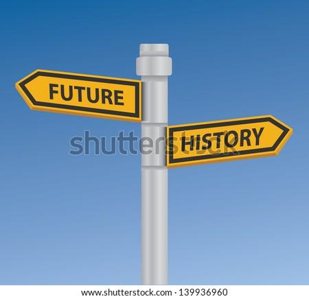 Future & history signpost,vector - stock vector