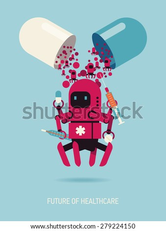 Future of healthcare creative vector concept design featuring opened hard shelled gelatin capsule filled with medical nano robots - stock vector