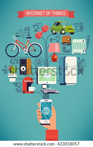 Future of network high technology in everyday life. Internet of things vector concept design in flat design with hand holding mobile phone connected to various everyday things