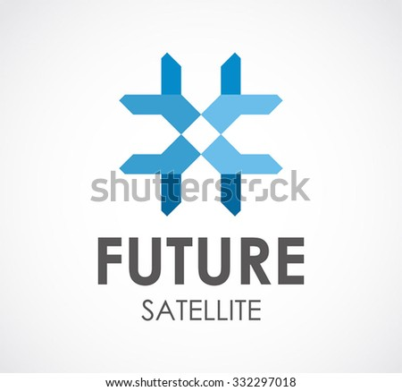 Future satellite of technology signal abstract vector and logo design or template digital broadcast business icon of company identity symbol concept - stock vector