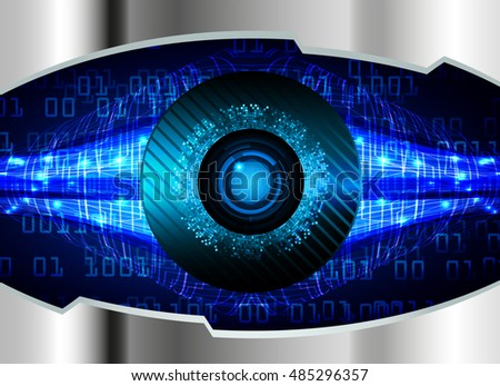 future technology, blue silver eye cyber security concept background, abstract hi speed digital internet.motion move speed blur