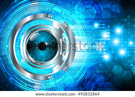 future technology, blue silver eye cyber security concept background, abstract hi speed digital internet.motion move speed blur. eyeball. vector