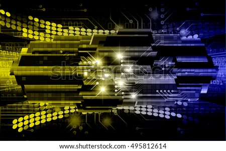 future technology, blue yellow silver light cyber security concept background, abstract hi speed digital data internet website. motion move speed blur. vector