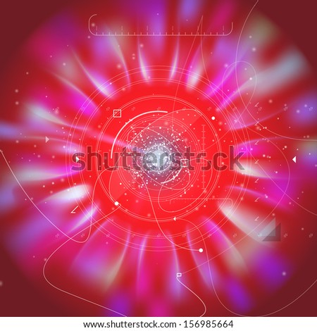 Future technology space vector background with fine details. High tech visionary interface dashboard with space flares and tunneling radial blur speed effect. - stock vector