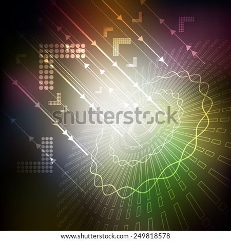 future telecom technology, satellite dish - stock vector