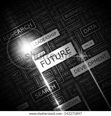 FUTURE. Word cloud concept illustration.