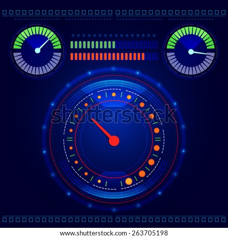 Futuristic abstract car speedometer and tachometer on a blue background vector - stock vector