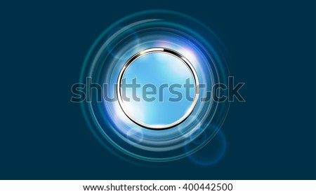 Futuristic abstract metal ring background. Chrome shine round frame with light circle and lens flare light effect. Vector abstract glowing stainless steel wallpaper. Blue space for your message. - stock vector