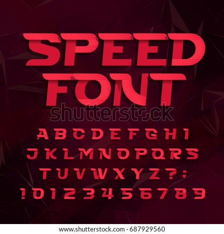 Futuristic alphabet vector font. Speed effect type letters and numbers on a abstract background. Vector typeface for your design.