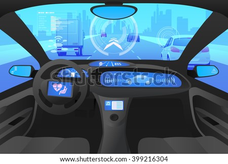 Futuristic automobile cockpit, various information monitors and head up displays. Driverless vehicle. driver assistance system, ACC(Adaptive Cruise Control),  vector illustration - stock vector