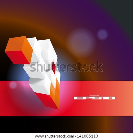 Futuristic  background made of red and white  chaotic cubic plates