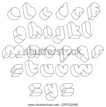 Futuristic black and white 3d font made with thin lines, single color simple shaped letters alphabet, best for use in web design and advertising, for use in headlines, elegant symbols with good style. - stock vector