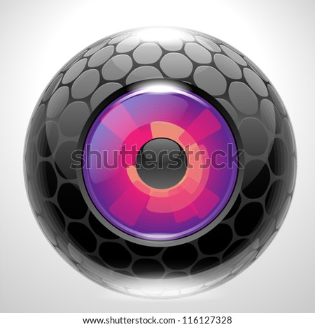 Futuristic camera photo lens, eye magnetta. - stock vector