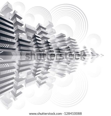 Futuristic city panorama, dimensional vector illustration. - stock vector