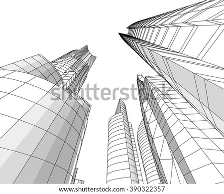 futuristic city skyscrapers background