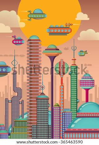 Futuristic city. Vector illustration. - stock vector