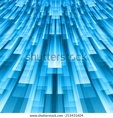 Futuristic concept abstract blue striped perspective background - stock vector