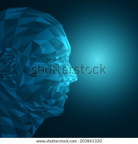 Futuristic Concept Abstract 3D Face by Shapes | EPS10 Vector Design - stock vector