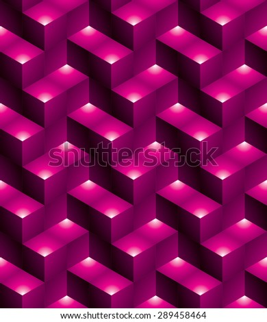 Futuristic continuous multicolored pattern, illusive motif abstract background with 3d geometric figures. Colorful decorative seamless backdrop, can be used for design and textile. - stock vector