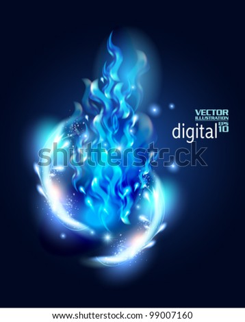 futuristic digital neon blue flame design - stock vector
