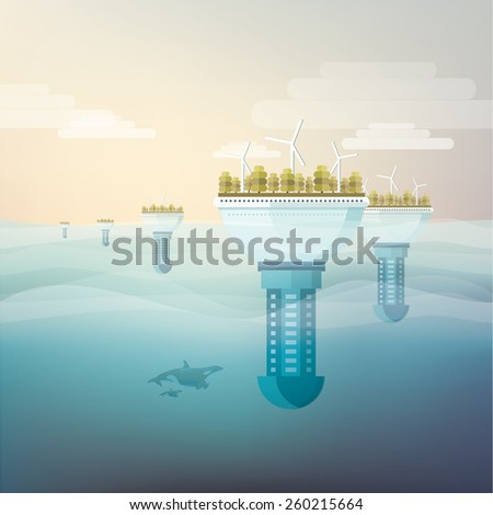 futuristic eco friendly floating underwater city in flat design style- sustainable energy concept illustration - stock vector