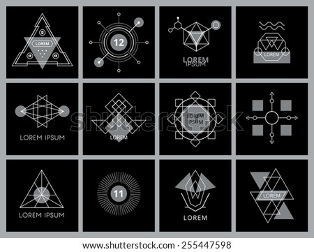 Futuristic Geometric Hipster Elements and Logos. Vector illustration. - stock vector