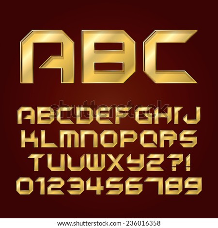 Futuristic Golden Shine Alphabet and Numbers, Editable eps10 Vector - stock vector