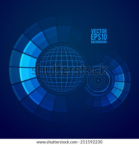 Futuristic graphic user interface. Sphere wireframe. Vector. - stock vector