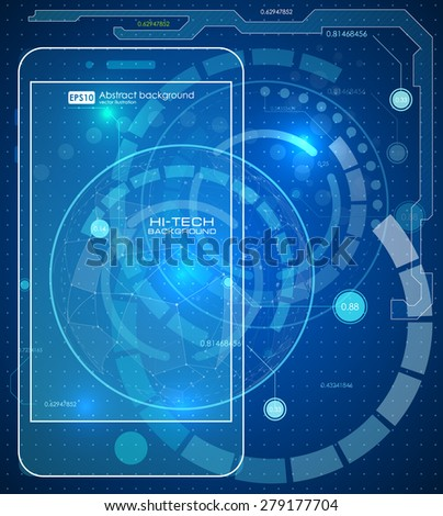 Futuristic graphic user phone mobile interface. HUD UI - stock vector