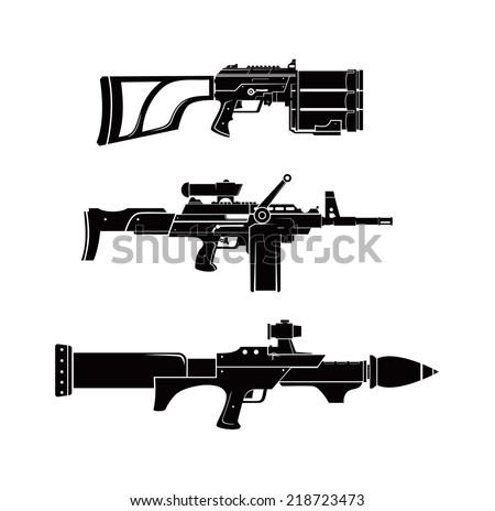 futuristic haevy weapon shilhouette vector