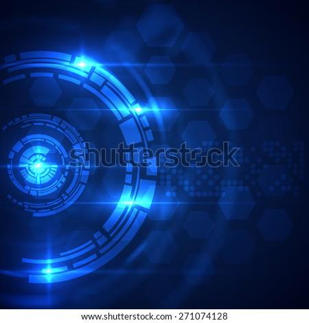 Futuristic HUD abstract circular background. Vector eps10. - stock vector