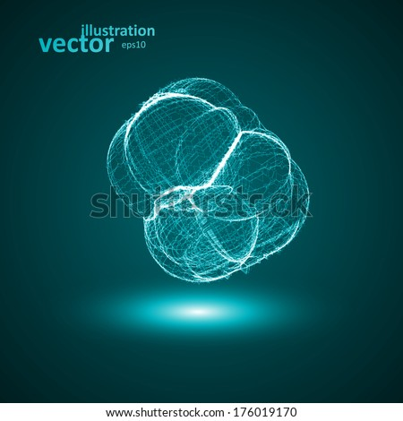 Futuristic illustration - conceptual virus, abstract shape eps10 - stock vector
