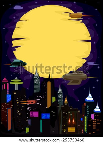 Futuristic Illustration of a City With a Cyberpunk Vibe - stock vector