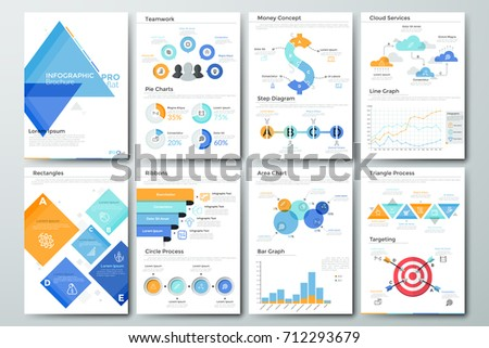 Futuristic Infographic Brochure Template Pages Diagrams Stock Vector