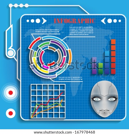 futuristic infographics for web and mobile vector - stock vector