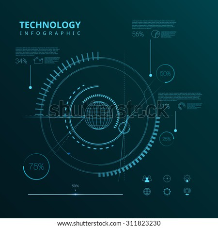 Futuristic interface, HUD, vector background, technology infographic. Interface elements. Application elements. Web elements. Techno infographic. Technology design elements. Line art infographic - stock vector