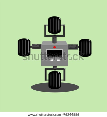 futuristic mechanical wheeled robot illustration - stock vector