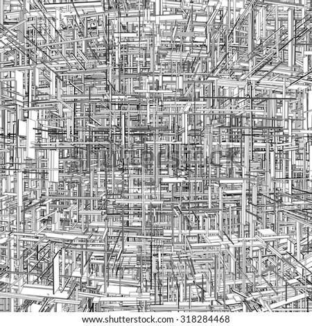 Futuristic Megalopolis City Of Skyscrapers Vector 22 - stock vector