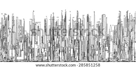 Futuristic Megalopolis City Of Skyscrapers Vector. Landscape View.  - stock vector