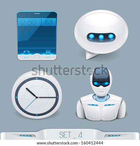 futuristic multimedia devices and technology icon-set 4 - stock vector