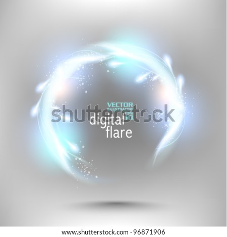 futuristic neon digital flare frame design - stock vector