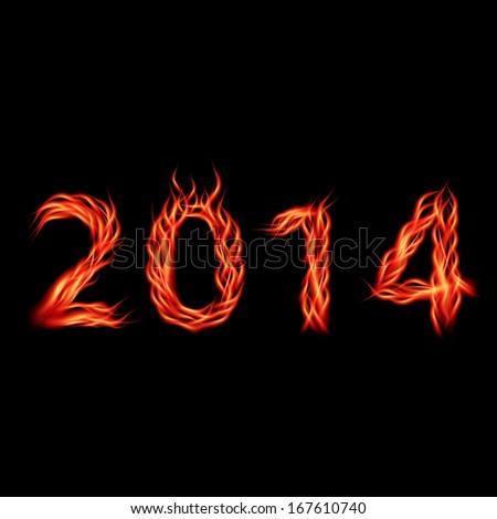 Futuristic new year 2014 fire look numbers. Vector illustration.