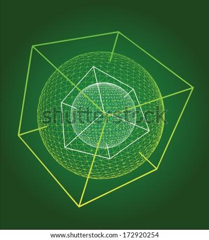 Futuristic object illustration - atom, molecule, fluorescent particle - stock vector