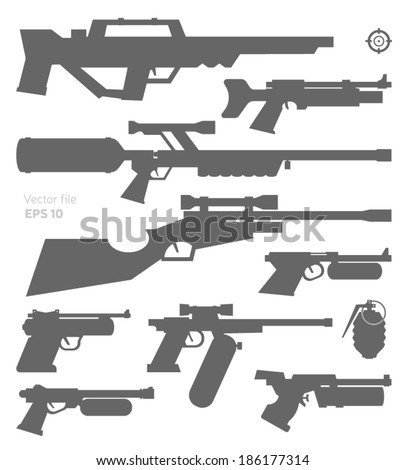 Futuristic pneumatic weapons collection. Vector graphics. - stock vector