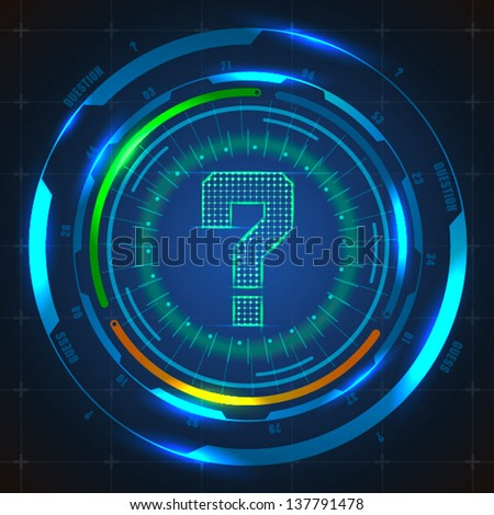 futuristic question mark with abstract background - stock vector