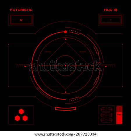 Futuristic red virtual graphic touch user interface HUD - stock vector