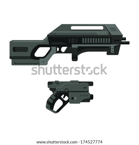 Futuristic Sci-Fi Assault Beam Rifle and Pistol - stock vector